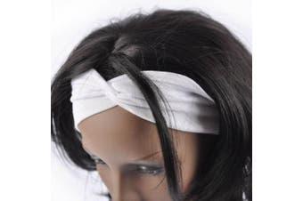 (White) - Women Stylish Wide Knot Plain Hair Headbands , Stretch Fabric Band, White