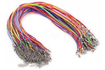"""20 CleverDelights Imitation Leather Cord Necklaces - Mixed Colours - 18 Inch - With Lobster Clasp - 2mm Thick 18"""""""