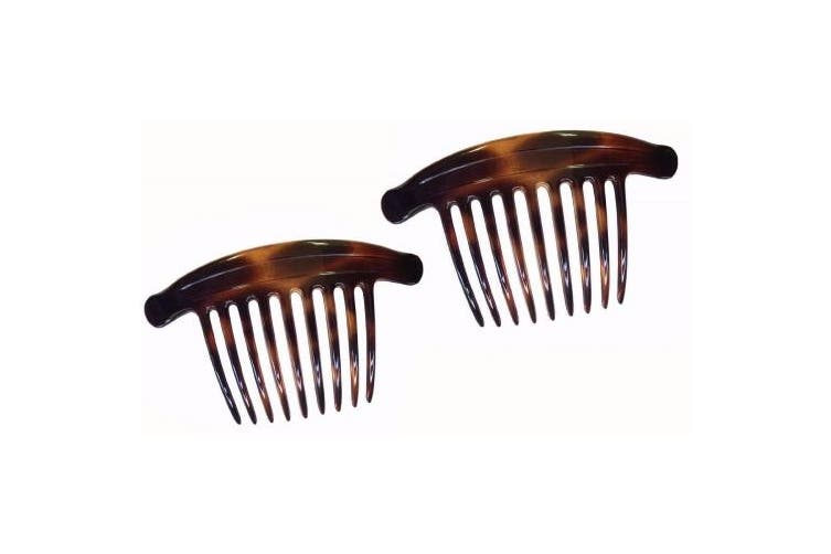 Parcelona French Lip Interlocking 9 Teeth 11cm Large Comb Cellulose Tortoise Shell Side Hair