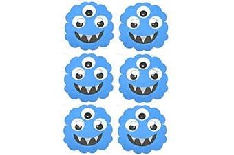 6 Blue Monster / Alien Foam Face Masks - Children's Masks Made by Blue Frog Toys