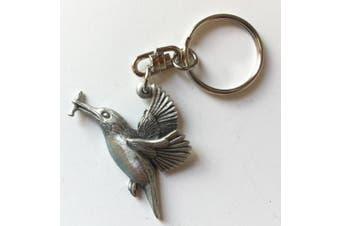 Kingfisher Handmade Pewter Key ring + Badge + Organza Bag