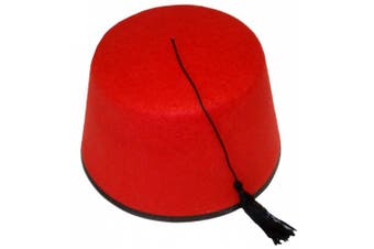 (Red) - FEZ HAT RED FANCY DRESS ACCESSORY CAP RED WITH BLACK TASSEL UNISEX FELT HAT MENS & WOMENS (Red)