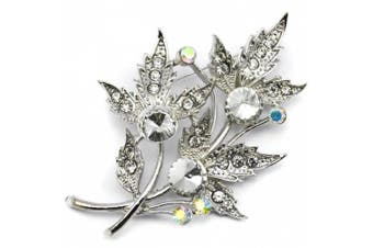 Elixir77UK Silver Colour Maple Leaf and Flower Bouquet Pin Brooch With Plain and AB Crystals UK SELLER