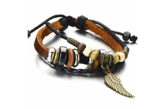 Angel Wing Multi-strand Brown Leather Bracelet for Men Women Tribal Leather Wristband Wrap Bracelet