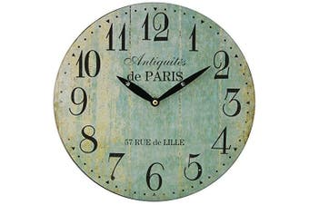 (Blue) - Paris 28Cm Distressed Round Wall Clock - Duck Egg Blue