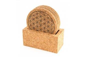 Berk - Inner Worlds Flower of Life Meditation Cork Coaster with Stand