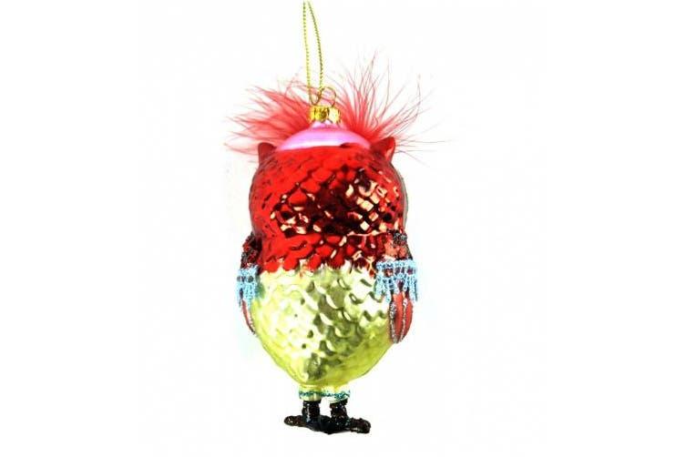 Gisela Graham Christmas Glass Owl Christmas Decoration