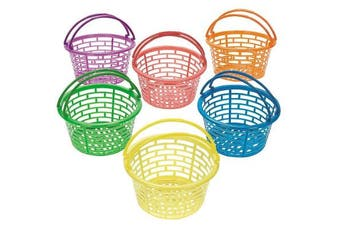 12 Bright Coloured Plastic Easter Egg Hunt Baskets