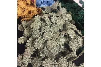 (5, Sage) - Lace Trim Daisy 1.3cm Wide Quality Venise. 5 Yards, Choose Colour. Multi-Use ex. Garments Bridals Decorations DIY Sew Arts Crafts Costumes Scrapbooks, Sage