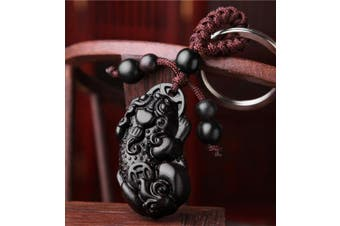 Feng Shui Peach Wood Curved Pi Yao Key Ring for Wealth (With a Betterdecor Pounch)