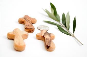 10 Small Olive Wood Pocket / Holding Crosses plus 1 Keychain