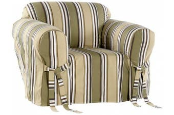 (Sage) - Classic Slipcovers Printed Classic Stripe Canvas Chair Slipcover, Sage