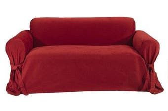 (Red) - Classic Slipcovers Brushed Twill Loveseat Slipcover, Red