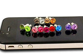 (10pc) - 1 20 50 100PC Bulk Glitter Diamond Crystal Bling Rhinestone Ball Universal Men Women Phone Dust Plug Fit All 3.5mm Ear Jack Earphone Smart Phone Smartphone Wholesale Accessory Cellphone Charms Anti Dust Dustproof Earphone Audio Headphone