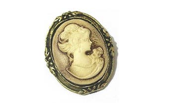 Vintage Victorian Lady Cameo Antique Gold Pin Badge Brooch Retro Jewellery
