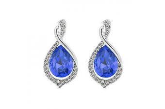 Vintage Style Long Wave Rhinestones Dark Royal Blue Drop Earrings E826