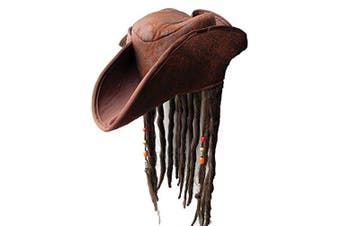 Jack Sparrow Style Caribbean Pirate Hat with Hair