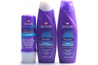 (400ml Duo Set + 3 Min Miracle) - Aussie Moist Shampoo and Conditioner, 400ml Each, Plus 3 Minute Miracle Moist, 240ml