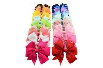 Bzybel Boutique Girls Kids Pinwheel Hair Bows Clips Grosgrain Ribbon Barrettes, Hair Accessories 20 Colours
