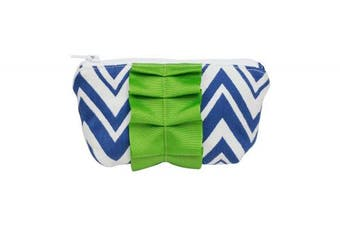 Caught Ya Lookin' Mother's Cosmetic Bag, Royal Chevron with Green Trim