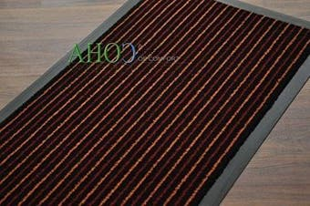 (Red Lines on  Black, 40x60cm (0.3mx0.6m)) - Extra Large Medium Small High Grade Top Quality Non Slip Door Mat Rubber Backed Runner Mats Rugs PVC 7mm thick Non Shedding Indoor / Outdoor Use 4 Colours 5 Sizes Made in EU AAA Grade & Quality Commercial