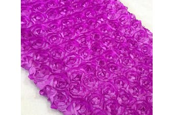 (Magenta) - Aimeart Wedding Accessories 3D Rose Aisle Carpet Runner Tablecloth 130cm Wide, Magenta