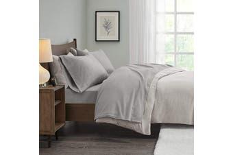 (Twin, Grey) - True North by Sleep Philosophy Micro Fleece Sheet Set, Twin