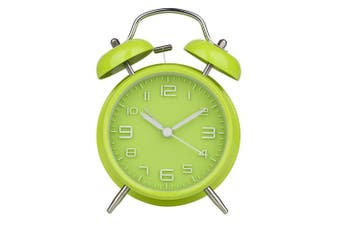 (Green) - Peakeep® 10cm Twin Bell Loud Alarm Clock with Backlight, No Tick(Green)