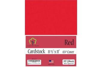 (22cm  x 28cm  - 50 Sheets) - Red Cardstock - 22cm x 28cm - 29kg Cover - 50 Sheets