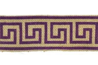 Belagio Enterprises Printed Jute Braid Embellishment, 7cm , Greek Key, Purple