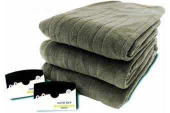 (Queen, Sage) - Biddeford 2023-905291-633 Electric Heated Knit MicroPlush Blanket, Queen, Sage