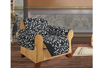(Chair, Black Leaf Print) - Quilted Pet Dog Children Kids - FURNITURE PROTECTOR- Microfiber Slip Cover Black Chair Leaf Design