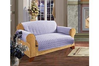 (Sofa, Lilac) - Elegance Linen Quilted Pet Dog Children Kids Furniture Protector Microfiber Slip Cover Sofa, Lilac