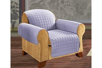 (Chair, Lilac) - Elegance Linen Quilted Pet Dog Children Kids Furniture Protector Microfiber Slip Cover Chair, Lilac
