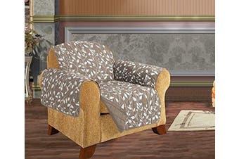 (Chair, Natural Leaf Print) - Quilted Pet Dog Children Kids - FURNITURE PROTECTOR- Microfiber Slip Cover Natural Chair Leaf Design