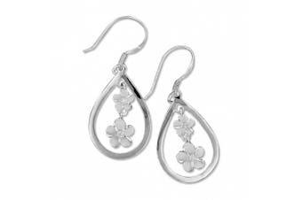 Sterling Silver Teardrop Dangling Plumeria Earrings