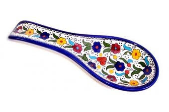 (Colored Flowers) - Coloured Flowers - Armenian hand painted cooking Spoon Rest / Ladle Holder - Large with deep Round Cup part (25cm long by 10cm across and 2.5cm deep)