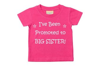 (24-36 Months) - I've Been Promoted to Big Sister Pink Tshirt Baby Toddler Girls Kids Available in Sizes 0-6 Months to 3-4 Years New Baby Sister Gift