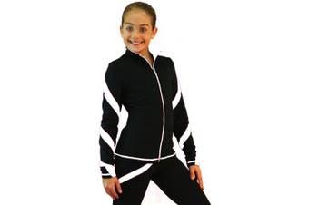 (Adult X-Small, White w/ White zipper) - Chloe Noel Figure Skating Spiral Skate Jacket J36