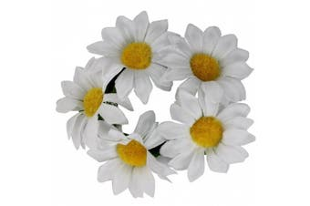 Flower Bun Wrap Ring Garland Hair Crown Dance Ballet Bridal Scrunchie Accessory White Daisy