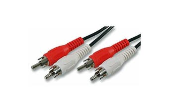 Twin RCA Phono Red White Audio Plugs Short Patch Lead Cable - 25cm