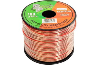 (18 Gauge, 100 Feet) - 30m 18 Gauge Speaker Wire - Copper Cable in Spool for Connecting Audio Stereo to Amplifier, Surround Sound System, TV Home Theatre and Car Stereo - RSW18100