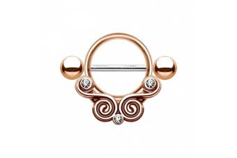 Nipple Piercing Shield Lace Swirls with Clear CZ 316L Surgical Steel - Rose Gold Colour - Sold Each