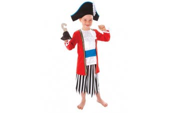 (3-5 years) - Christys Dress Up Christys Captain Pirate Costume with Hat and Hook (3 - 5 Years)