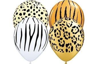 (1, CLASSIC) - Safari Animal Assorted Qualatex Latex 28cm Balloons x 12