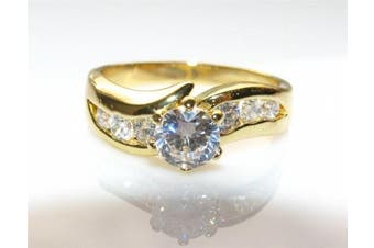(T) - Beautiful Simulated Diamonds Clear Crystal Heavily Gold Electroplated Ring. Finished To An Outstanding Quality And a Very Pretty Design.