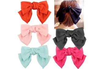 (Hair Barrettes) - 5 Pcs Large Big Huge 20cm Soft Silky Chiffon Hair Bow Clip Lolita Party Oversize Handmade Girl French Barrette Style Hair Clips