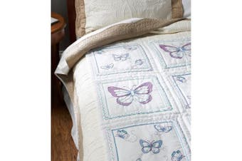 (butterfly) - Bucilla Stamped Embroidery Quilt Blocks 38cm x 38cm 6/Pkg