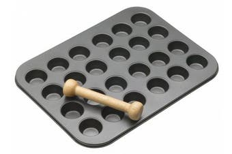 (1, Grey) - MasterClass 24-Hole Non-Stick Mini Tart / Canapé Tray with Pastry Tamper, 35 x 27 cm