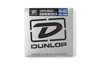 (Medium, 5 String) - DUNLOP DBSBS45125 Super Bright Stainless Steel Bass 5-String Set, .45-.125 Gauge, Light